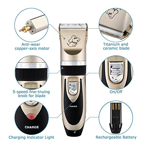Rechargeable-Cordless-Pet-Grooming-Clippers-Professional-Low-Noise-Electric-Dog-Clipper-Detachable-Blade-with-4-Comb-Guides-for-Small-Medium-Large-Dogs-Cats-House-Animals-Grooming-Trimming-Kit-Set