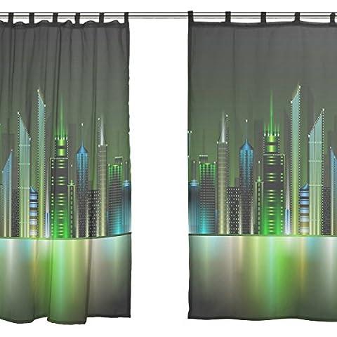 jstel 2Pcs Voile Fenster Vorhang, Night City Grün Bling Light, Tüll Sheer Vorhang Tuch Querbehang 139,7x 198,1cm Zwei scheibenelementen Set