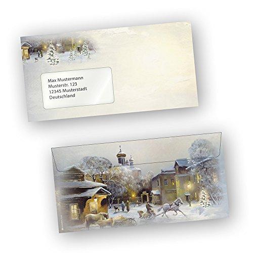 Briefumschläge Weihnachten WINTER-AQUARELL 50 Stück DIN lang mit Fenster beidseitig bedruckt für...
