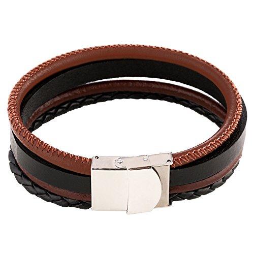 DonDon Herren Lederarmband mit 4 verschiedenen Armbändern in einem Armband zusammengefasst