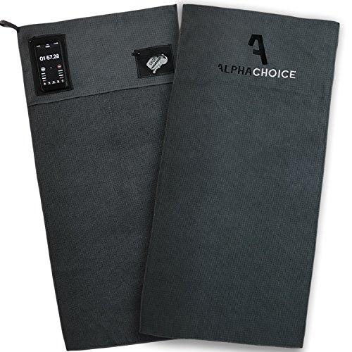 Alphachoice® Sporthandtuch fürs Fitnessstudio mit Reißverschluss-Taschen / Gym Handtuch / Fitness Handtücher Damen & Herren 100cm x 50cm (Magnetische Spind-zubehör)