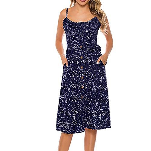 Kleid Mode Sexy V-Ausschnitt Solid Color Sling Punkte Gabel ärmelloses Sommerkleid(Blau,XL) ()