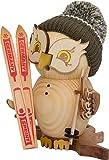 Räuchermann Eule Skifahrer von DREGENO SEIFFEN 19 cm – Original erzgebirgische Handarbeit, stimmungsvolle Weihnachts-Dekoration