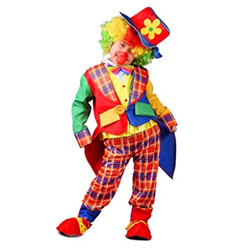 Prettyia Gestreift Clown Kostüm Set Kinder Outfit Kinderkostüm für Karneval Fasching Halloween Party - ()