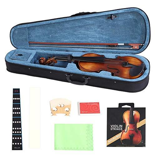 4/4 Geige, Akustische Violine Massivholz Volle Fichte Violine mit Harten Fall, Kolophonium, Brücke und Saiten Zubehör für Anfänger Musik Liebhaber
