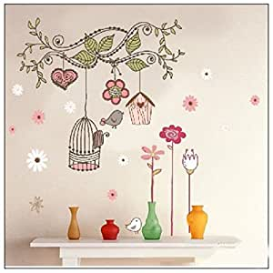 Colourful Birds and Cage on Tree Branch - Wall Stickers Home Art Decoration