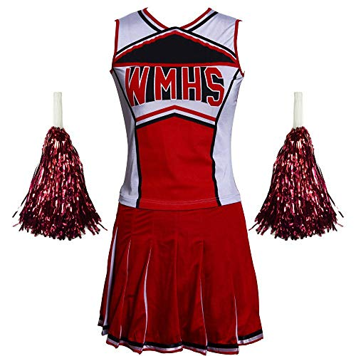 Kid Kostüm School - ZQ High School Girl Cheerleader Kostüm Cheer Uniform Cheerleader Outfit Top + Rock + Pompom Cosplay Halloween,M