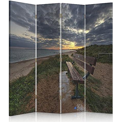 Feeby Frames, HDR - Biombo impreso sobre lona, tabique decorativo para habitaciones, a doble cara, de 4 piezas, 360° (145x150 cm) PLAYA, MAR, GRIS, VERDE, MARRÓN