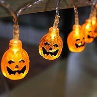 Welltop LED arancione 3D zucca luci a pile di decorazioni