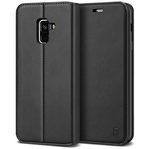 BEZ Hülle für Samsung A8 2018Hülle, Handyhülle Kompatibel für Samsung Galaxy A8Tasche, Case Schutzhüllen aus Klappetui mit Kreditkartenhaltern, Ständer, Magnetverschluss, Schwarz