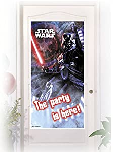 Procos 85219 - Decoración Puerta Star Wars Darth Vader, 150 x 75 cm, Negro/Rojo/Blanco