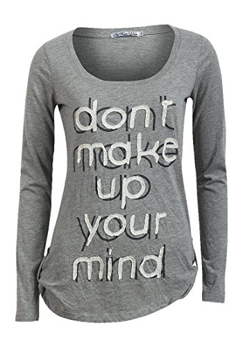 Moda Donna Top Maglietta a maniche lunghe da donna a maglietta felpa Grey Large