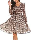 Beyove Damen Chiffonkleid Abendkleid Knielang 50s Vintage Langarm Kleid mit Polka Dots Blumenkleid Cocktailkleid Partykleid Winterkleid