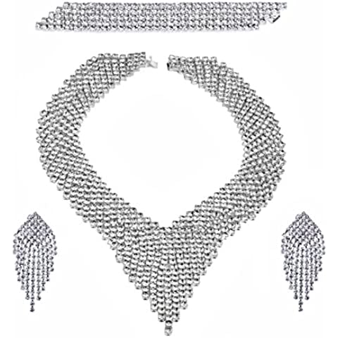 Conjunto glamour collar pendientes clips y pulsera de mujer bisutería para ocasiones festivas plateado con baño de
