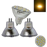 3x Stück - MR11/GU4 LED 4 Watt 12V AC/DC mit 15 SMDs aus Echt-Glas warmweiß Spot 120° Grad Energiesparlampe Lampe Strahler