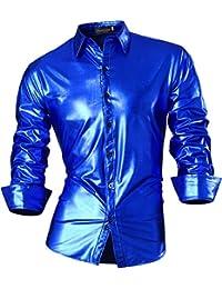 jeansian Herren Freizeit Hemden Bronzing Slim Button Down Long Sleeves Dress Shirts Tops Z036