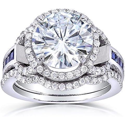 Taglio rotondo, con zaffiri e diamanti da Moissanite & (ctw) Set 4 di carato, in oro bianco 14 k - Moissanite Diamante Zaffiro