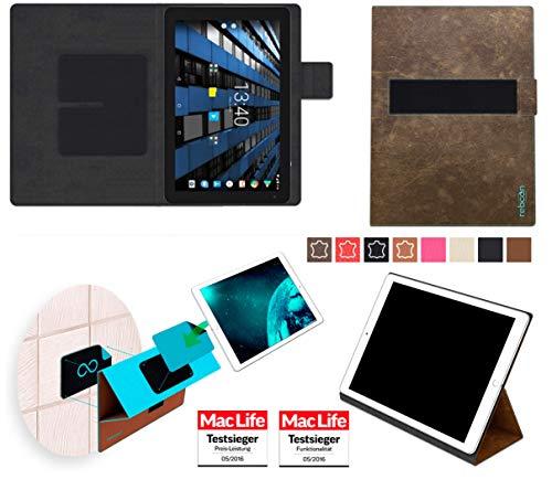 reboon Hülle für Archos Diamond Tab 2017 Tasche Cover Case Bumper | in Braun Wildleder | Testsieger