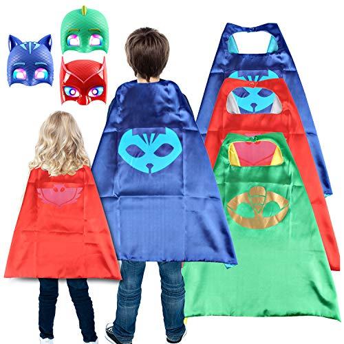 DryMartine Superhelden Kostüm für Kinder Helden verkleiden Sich mit Masken, Superhero Capes und Masken für Kinder (Grün)