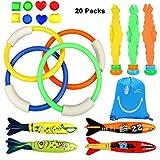 Juguete de Buceo Natación subacuática Natación Piscina Toy, Juguete de Piscina Juego subacuático para Niños (4 Anillos de Buceo + 4 Torpedos Bandidos +8 Joyería 3 Piezas Babosas de Alga Marina)