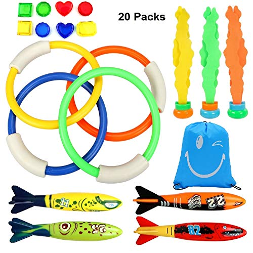 Honkid Tauchen Spielzeug Unterwasser Schwimmbad Spielzeug, 4 Stück Schwimmspielzeug Tauchringe, 4 StückToypedo Bandits, 8 Stück Edelsteine,Tragetasche, Schwimmen Spielzeug-Set für Kinder