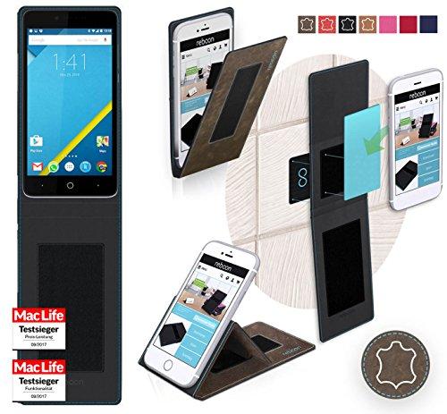 reboon Hülle für Elephone P6000 Tasche Cover Case Bumper | Braun Wildleder | Testsieger