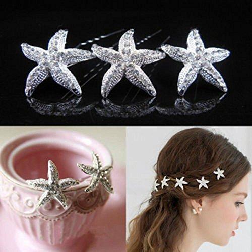 3Hochzeit Kristall mit Seestern Haar Pin Haar Clip Zubehör für Mädchen und Frauen