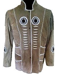 Classyak pour Homme Cowboy à Franges et Baleines en Daim Cuir Manteau Haute  qualité 5d92e4c54018