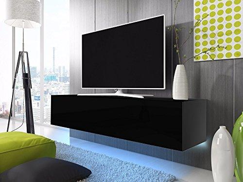 TV Schrank Lowboard Hängeboard SIMPLE mit LED Blau (Schwarz Matt / Schwarz Hochglanz 160 cm)