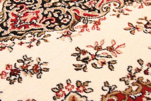 Traditional Oriental Rug Mossoul Kerman Design Carpet Red Cream Border, Size 240x320 cm (7'9