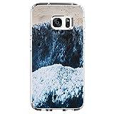 Samsung Galaxy S7 edge Coque Pacyer case Housse Étui Cuir Cover Couverture Fonction Support avec Fermeture Aimantée de Feuille Motif Bumper pour S7 edge (mer de vogue)