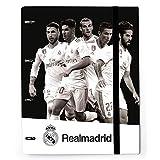 Grupo Erik Editores CAT0034 - Carpeta con 4 anillas troquelada Real Madrid jugadores, 32 x 27.5 cm