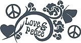 GRAZDesign 750089_57_841 Wandtattoo Love & Peace | Aufkleber Wohnzimmertattoo | Wandaufkleber als Wand-Dekoration (107x57cm//841 Blue Grey)