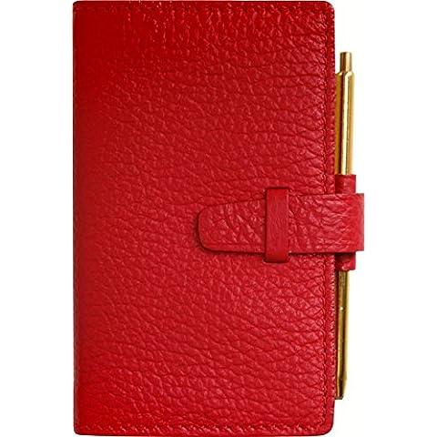 EXACOMPTA Agenda cuero Cali 2 días dorado corte intercambiables de enero de 2016 de enero de 2016, 2017-envejecida, color rojo 105 x 65