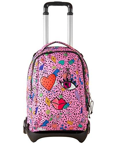 Trolley invicta - plug face - azalea pink rosa - zaino sganciabile e lavabile - scuola e viaggio 35 lt