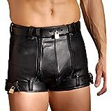 Strengen Leder 86,4cm Taille Keuschheitskäfig Zwangsdilator Shorts