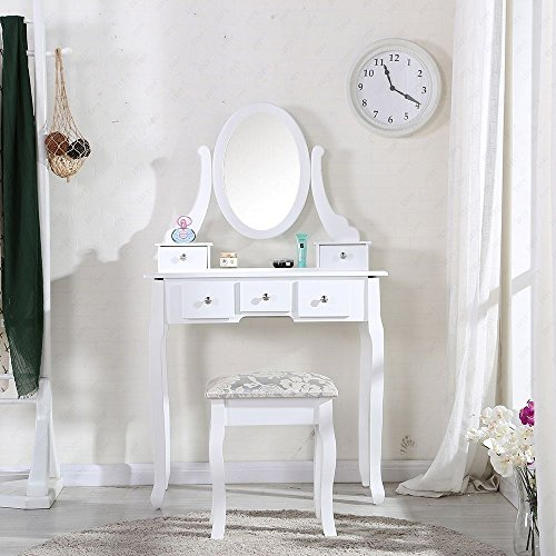 Schindora White Dressing Table And Chair Makeup Desk With