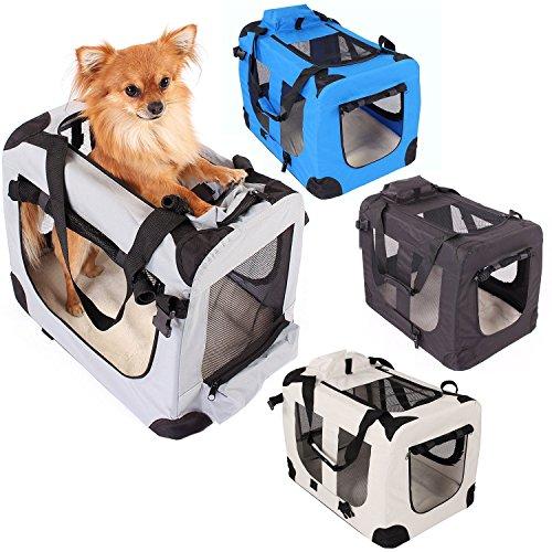 Transportbox faltbar inklusive Polster Hundebox Autobox Katzen in verschiedenen Farben & Größen (S, Grau)