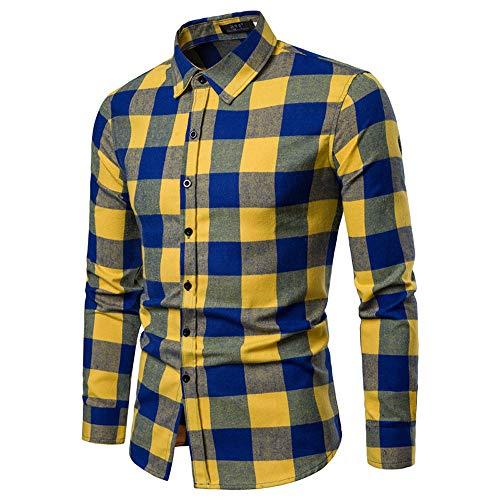 Cebbay Camisa Manga Larga Hombre Grueso a Cuadros Slim fit Polo Camiseta Trajes para la Nieve Liquidación(Amarillo, EU Size XL = Tag 2XL)