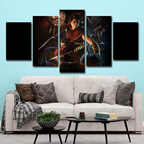 OJKYK Assassins Creed Odyssey Gaming Poster Leinwanddrucke 5 Stück Wandkunst Gemälde Bilder Home Decor Hd Druck Für Jungen Zimmer,B,30x45x2+30x60x2+30x75x1