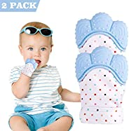 2 Pack Teething Mitten Baby Glove Teether Toys Silicone Soothing Pain Relief for Infant Boys & Girls for 0