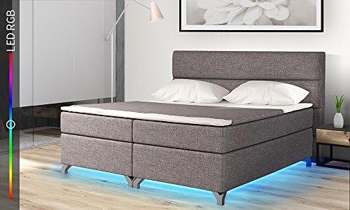 Selsey Luciano – Doppelbett/Boxspringbett in Grau mit Bettkasten RGB-LED und Farbwechsel Funktion