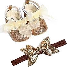 Zapatos de Princesa Niña de PU con Cinta Fondo Blando Lentejuelas Altas Elegante Zapatilla de Deporte