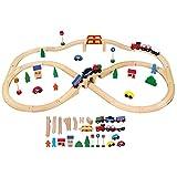 Viga Toys - 56304 - Modélisme Ferroviaire - Train En Bois - 49 Pièces
