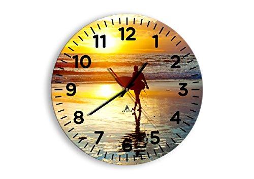 Horloge Murale - Ronde - Horloge en Verre - Pendule murales - 40x40cm - 2792 - Mécanisme d'écoulement - Silencieux - prete a Suspendre - Moderne - Décoration - Pret a accrocher - C4AR40x40-2792