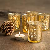 """Mercury Glass Votive Cup Set Of 6 Pcs, 3"""" Round, Gold, Packed In White Box. Shimmering Candle Holders Which Adds Décor To Any Occasion."""