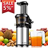 Aobosi Kompakt Slow Juicer/Edelstahl Entsafter/Saftpresse für Obst und Gemüse mit tragbar Griff/Rücklauffunktion/geräuschlosem Motor und Reinigungsbürste für einen nährstoffreichen Saft