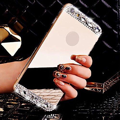 Für iPhone 7 Hülle,Für iPhone 8 Spiegel Hülle Mirror Case,Funyye Luxuriös TPU Handyhülle Gold Plating Silikon Schutzhülle Luxus Glänzend Glitzer Kristall Strass Rahmen Weich TPU Handy Tasche Ultra Dün Gold