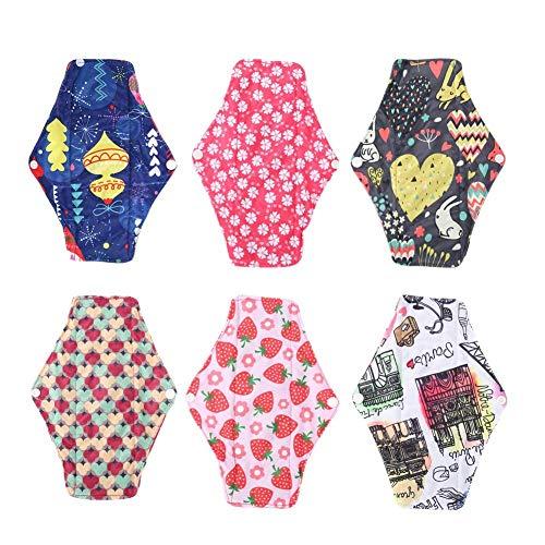 Miji Reusable Sanitary Pad,6pcs/Set 9.8 x 7.1Inch Washable Bamboo Charcoal Menstrual Pads Sanitary Cloth Liner Towel Panty Pad(6pcs) Menstrual Ld-liner