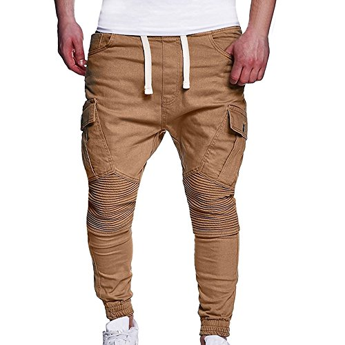 Beikoard Stock Abbigliamento Firmato Cinture di Fissaggio del Camuffamento del Camuffamento di Sport degli Uomini Casuali Pantaloni Sportivi Allentati con Coulisse Pant(Khaki 2,XXXXL)